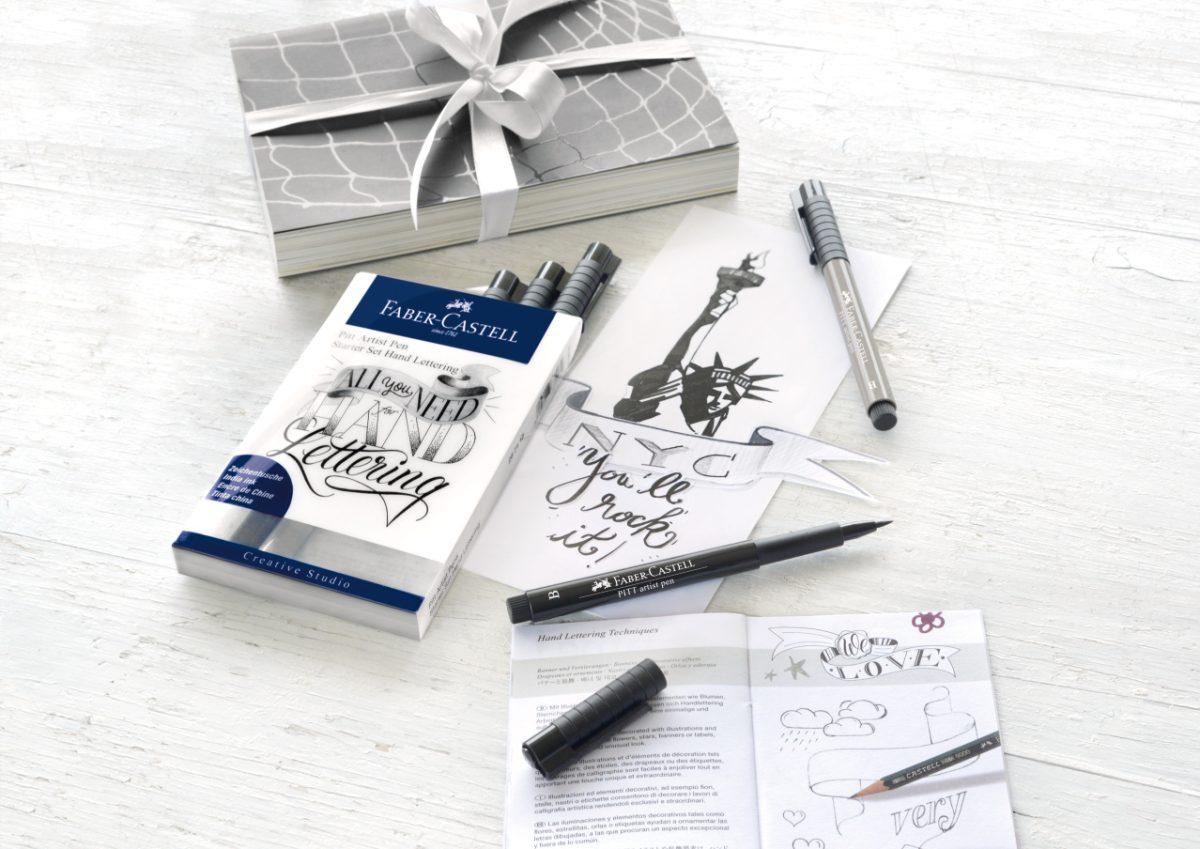faber castell pitt artist pen set of 8 lettering start