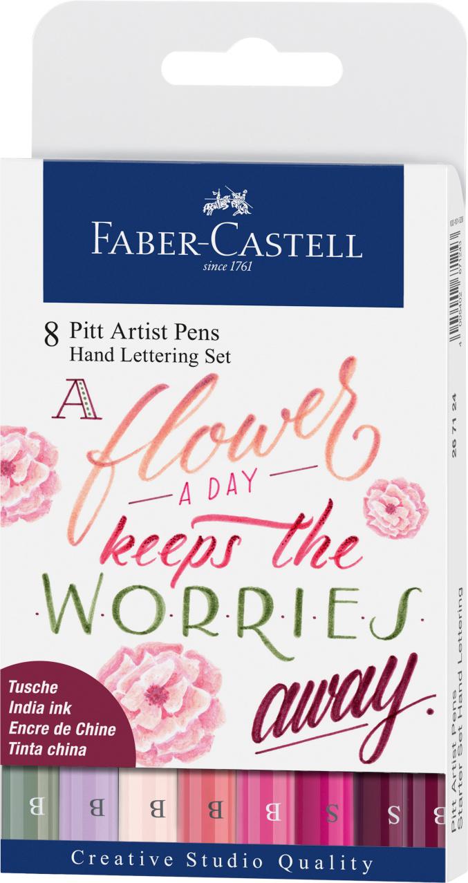 faber castell Pitt Artist Pen wallet of 8 Lettering Pinks opakowanie