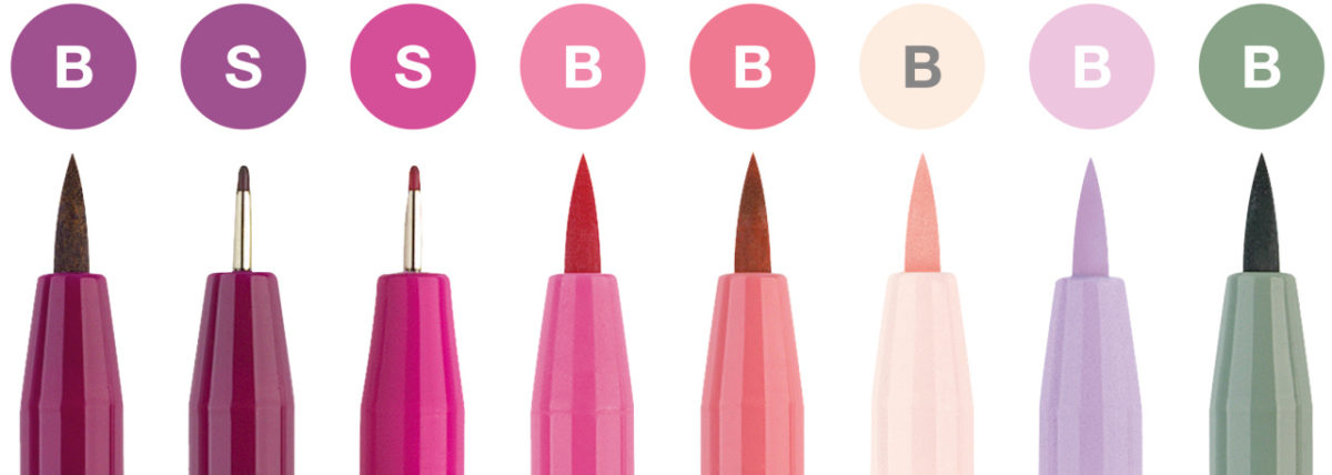 faber castell Pitt Artist Pen wallet of 8 Lettering Pinks