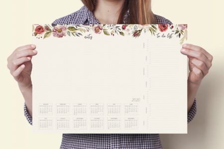 OgarniamSie Kwiaty podkladka a3 kalendarz 2020 450x300 - Podkładka na biurko z kalendarzem 2020 i listą zadań - A3