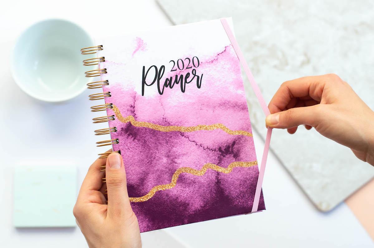 planery 2020 rozowe ombre spiralowany gumka