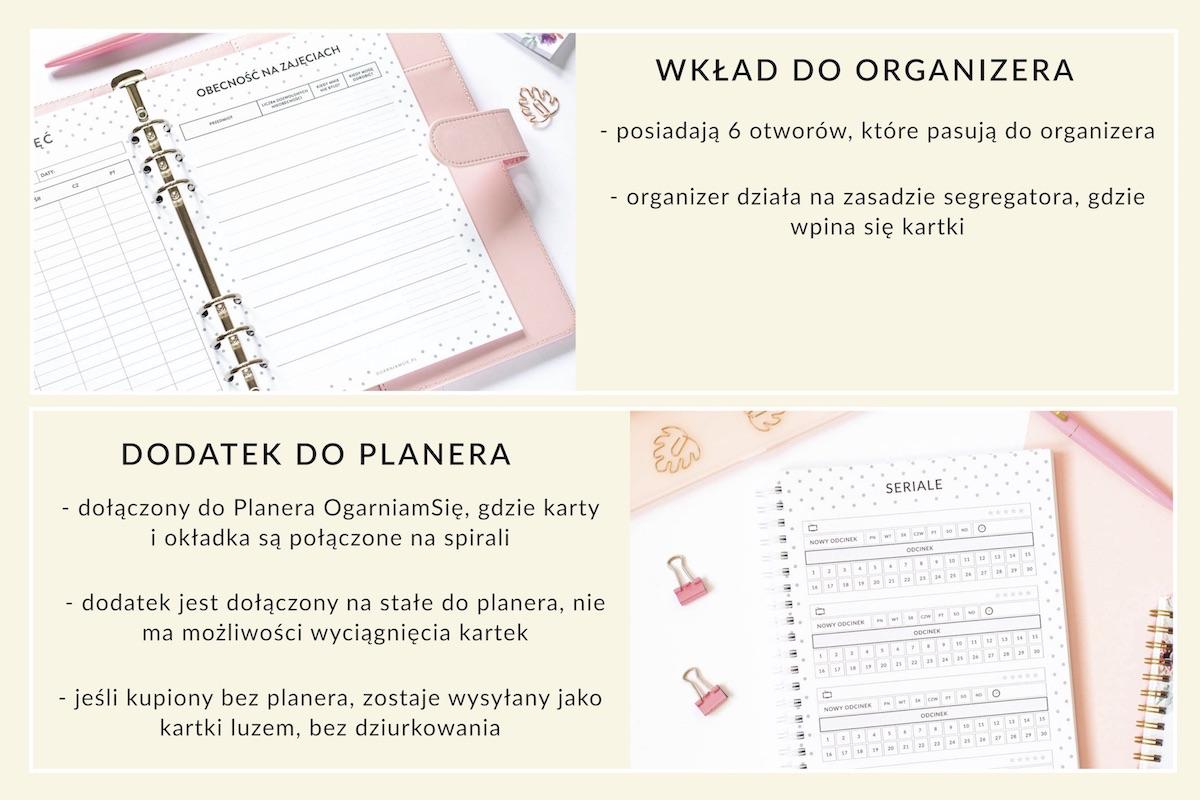 OgarniamSie wklad dodatek2 - Planer blogera, planer postów - dodatek do planera, wkład do organizera