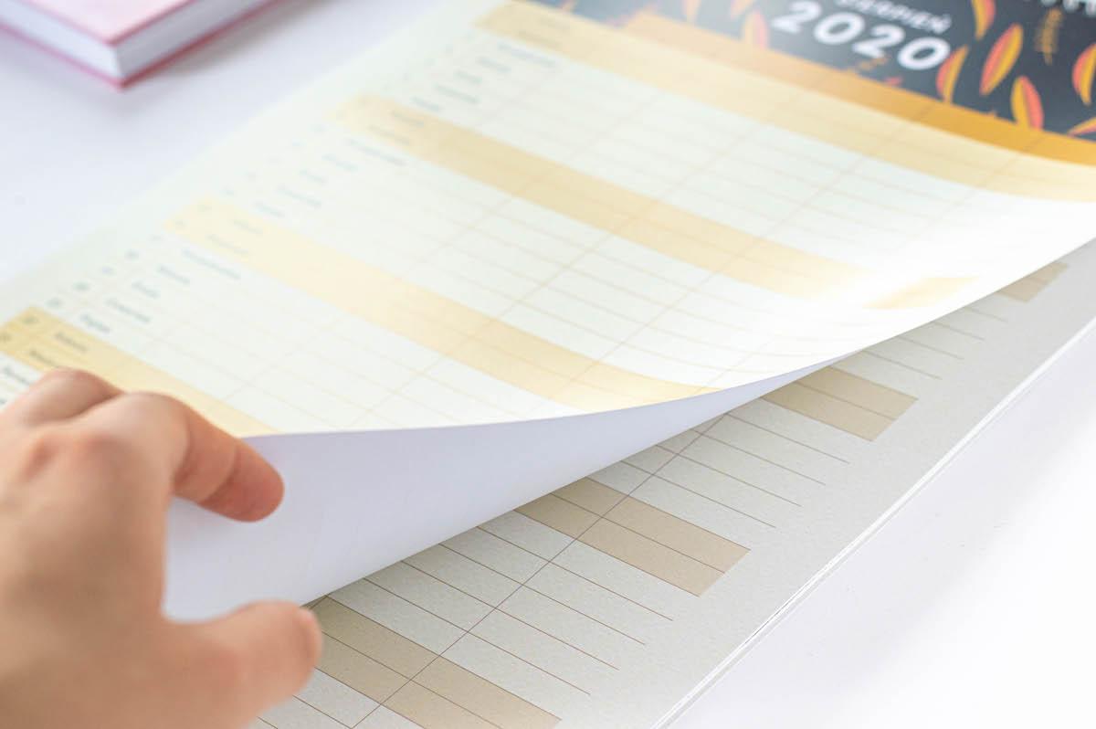 Kalendarz rodzinny 2020, kartki