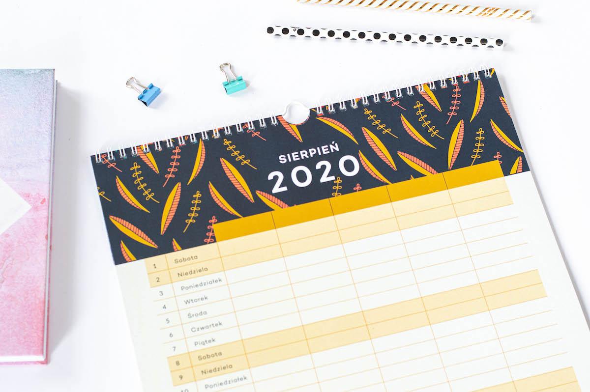 Kalendarz rodzinny 2020, sierpień