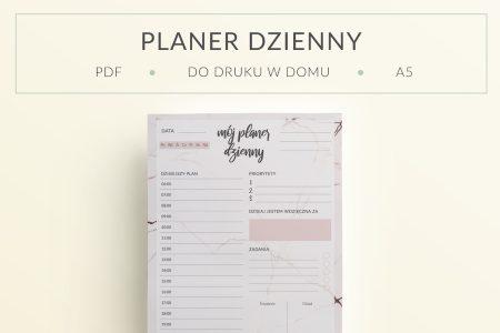 "OgarniamSie PlanerDziennyMarmur dodruku mockup 450x300 - Planer Dzienny ""Marmur"" do druku | Format A5"