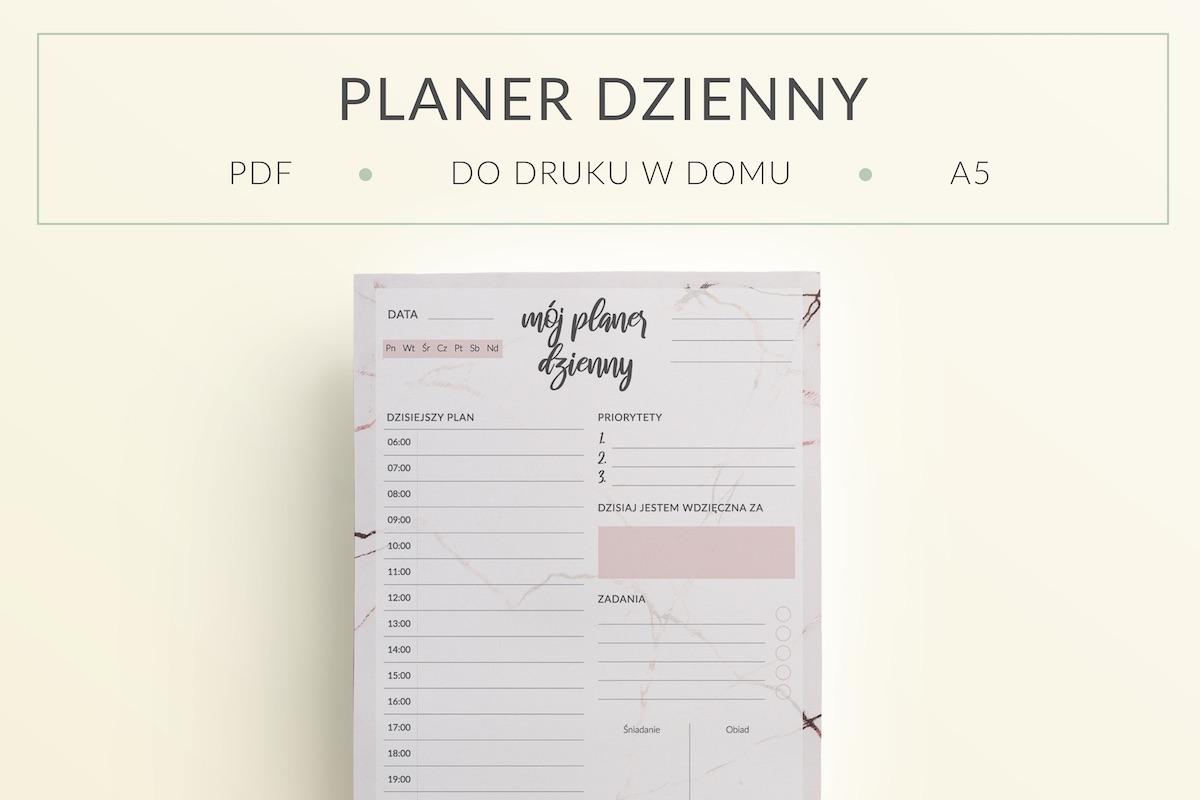 "OgarniamSie PlanerDziennyMarmur dodruku mockup - Planer Dzienny ""Marmur"" do druku | Format A5"