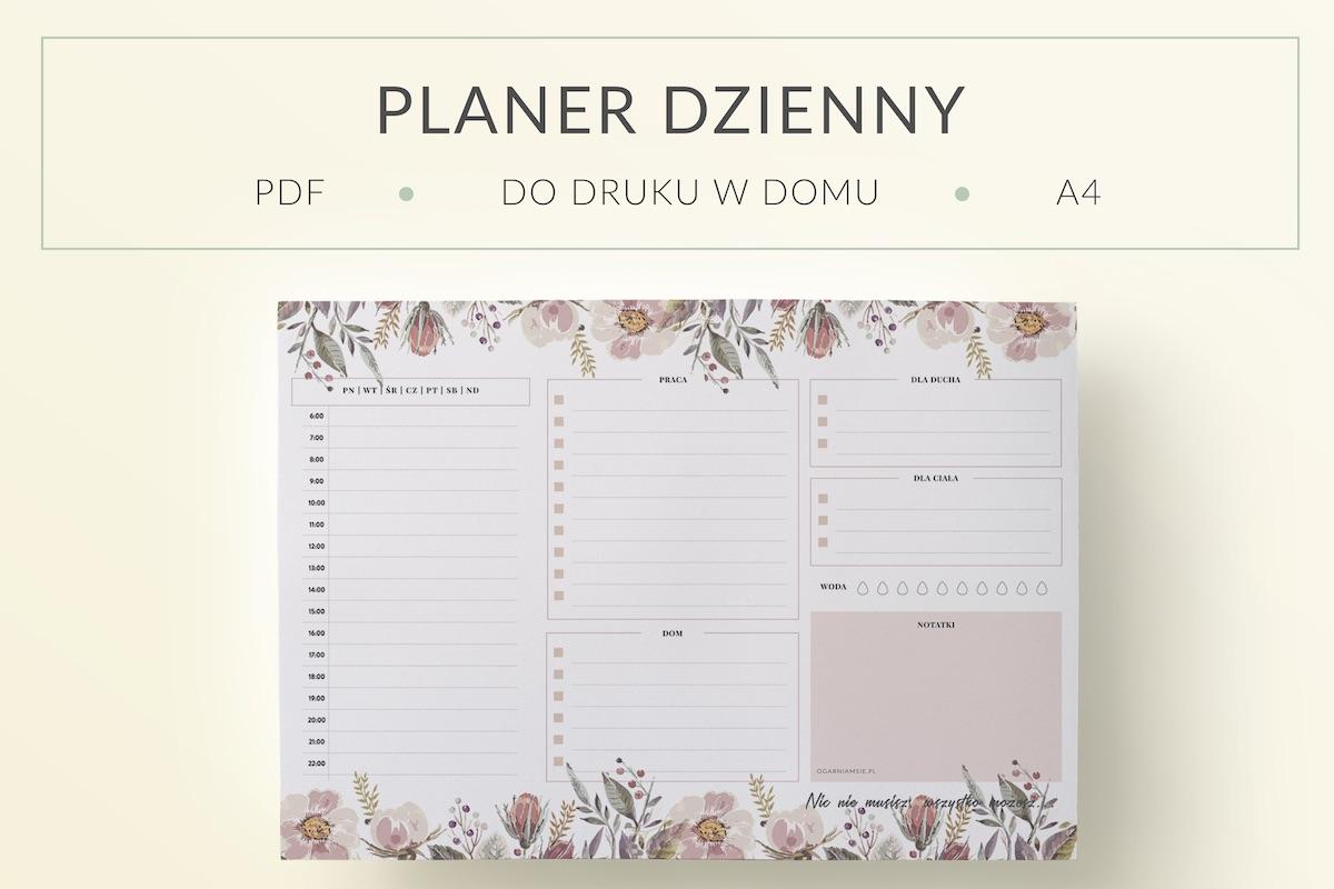 Planer Dzienny Kwiaty, A4 do druku - mockup