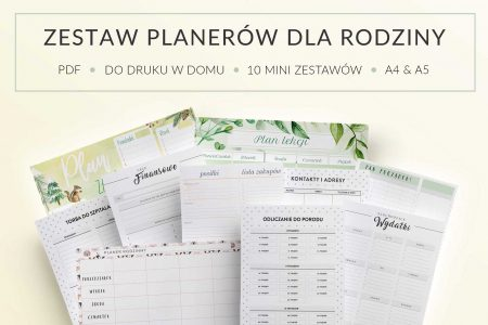 Zestaw planerów dla rodziny, do druku - mockup
