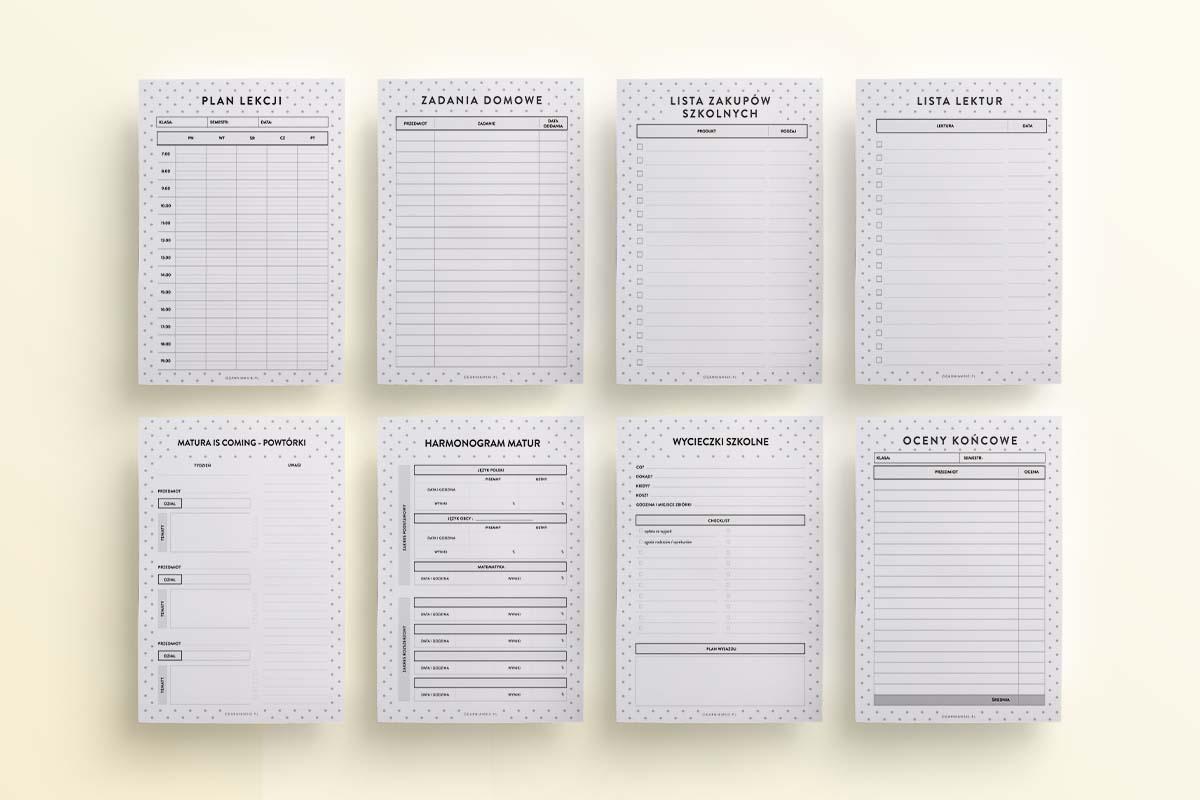 Zestaw planerów dla rodziny, szkolny, szablony - mockup