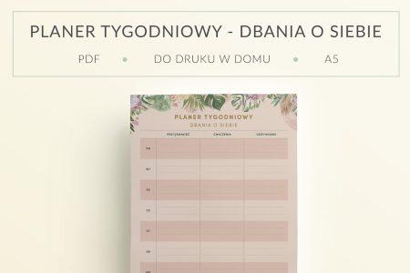 Planer Tygodniowy – Dbania o siebie do druku - mockup