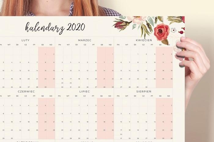 Kalendarz 2020 do druku Floral, w przybliżeniu