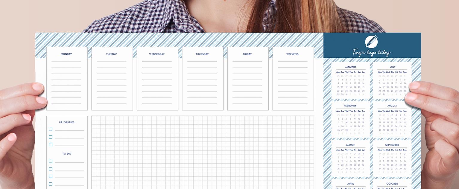Podkładka na biurko kalendarzem, logo fimy - baner