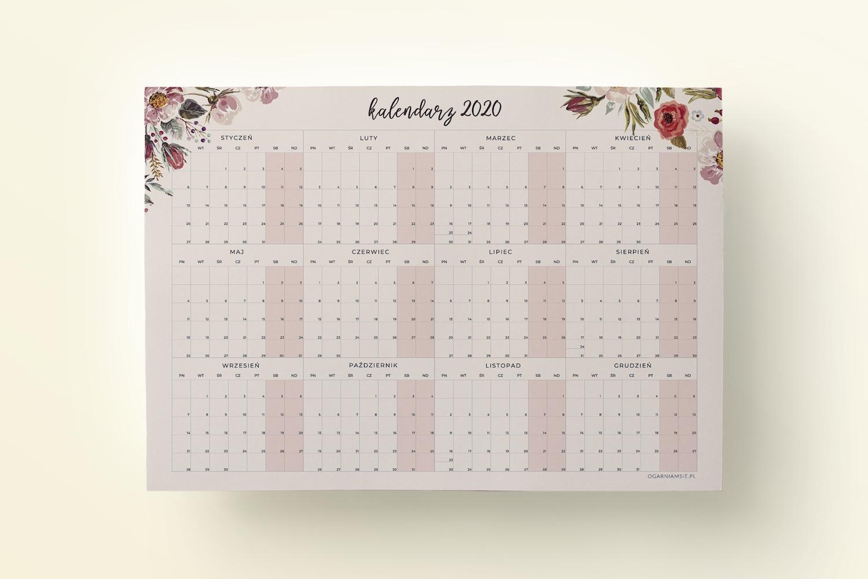 Kalendarz 2020 A4 Floral - mockup