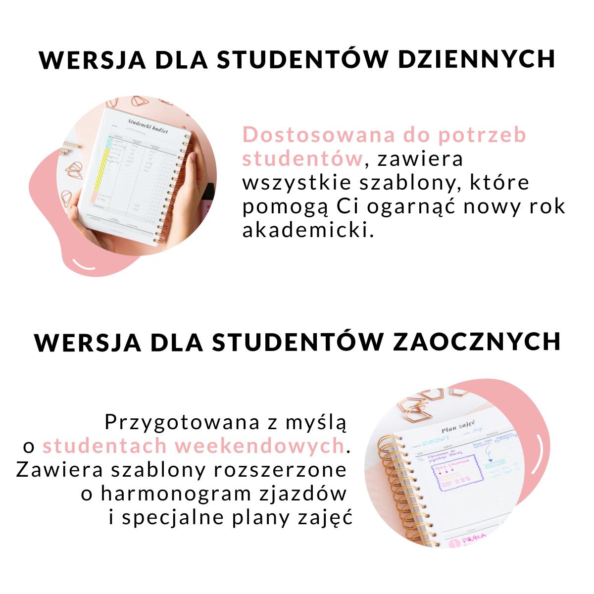 Podział planera wersja dla studentów dziennych zaocznych