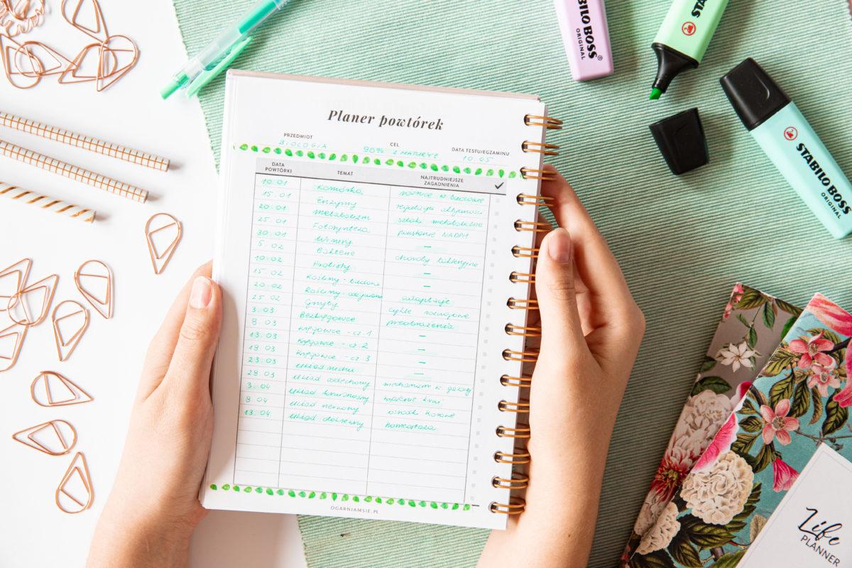 planer ucznia planer powtórek
