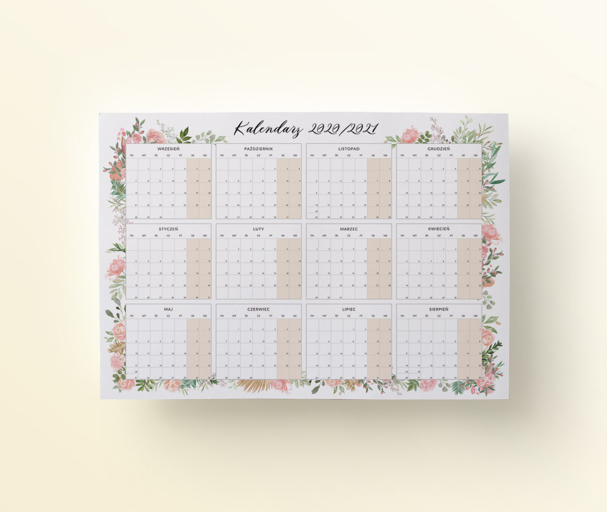 OgarniamSie Kalendarz 2020-2021 Kwiaty-A4 do-druku mockup