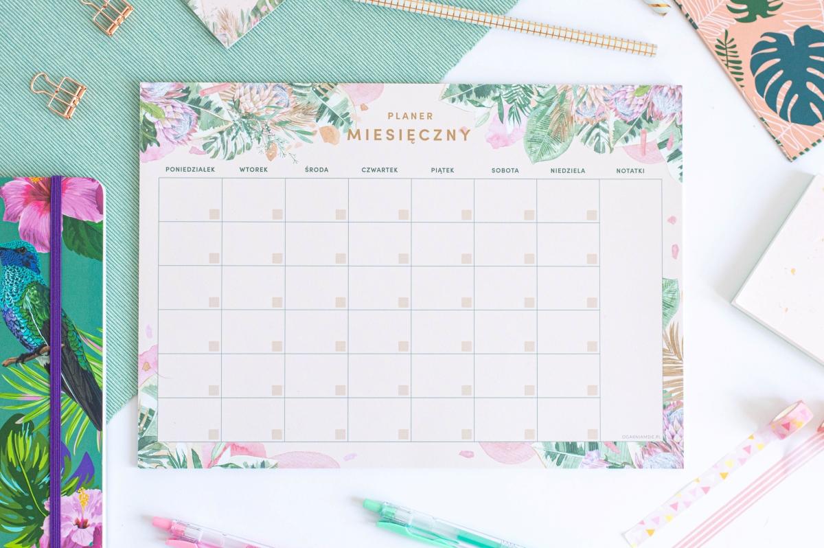 Planer Miesięczny Kwiaty w Tropikach Notes A4