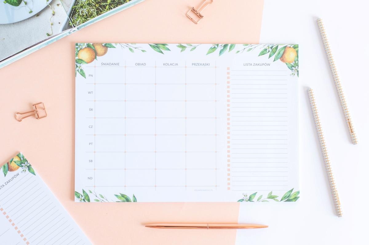 planer posiłków tygodniowy kwiaty pomarańczy notes A4