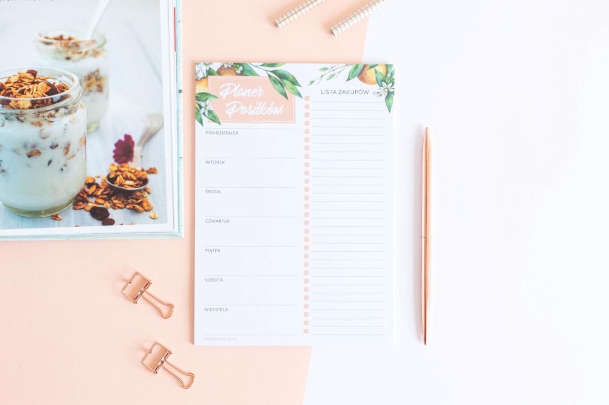 planer posiłków tygodniowy kwiaty pomarańczy notes A5