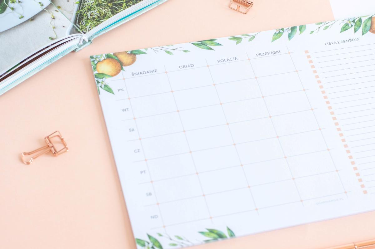 planer posiłków tygodniowy kwiaty pomarańczy notes A4 - 2