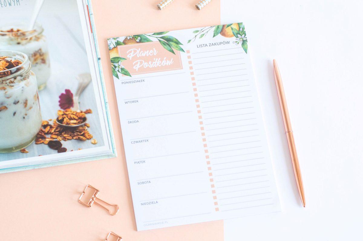 planer posiłków tygodniowy kwiaty pomarańczy notes A5 - 2