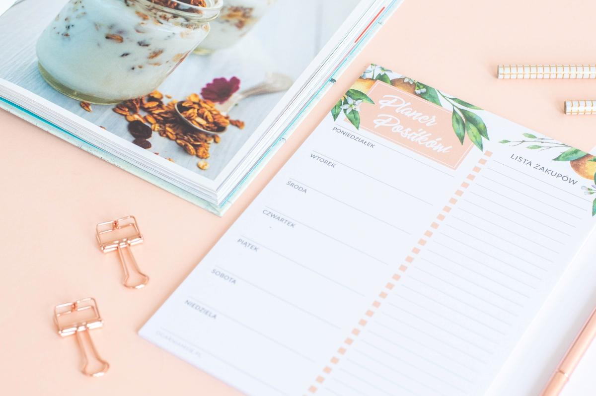 planer posiłków tygodniowy kwiaty pomarańczy notes A5 - 3