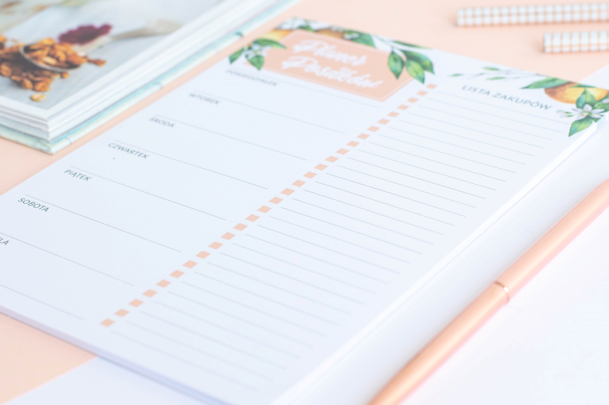 planer posiłków tygodniowy kwiaty pomarańczy notes A5 - 4