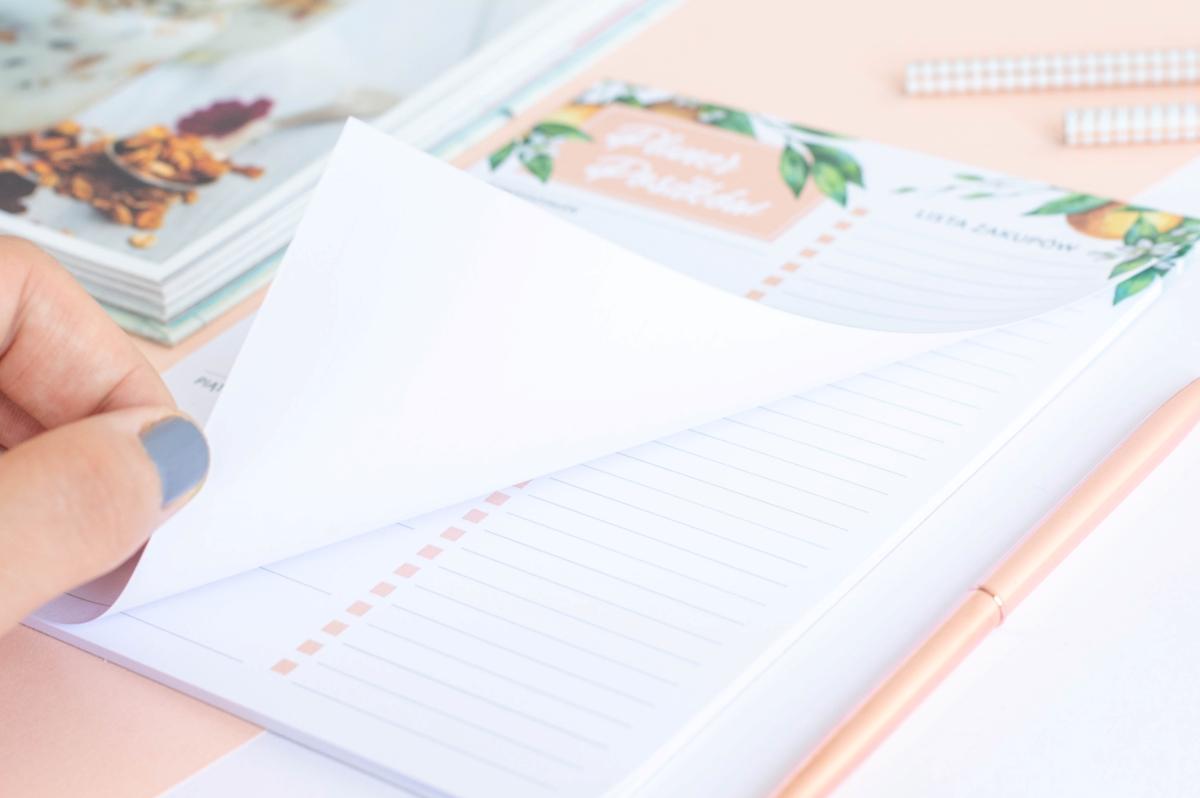 planer posiłków tygodniowy kwiaty pomarańczy notes A5 - 5
