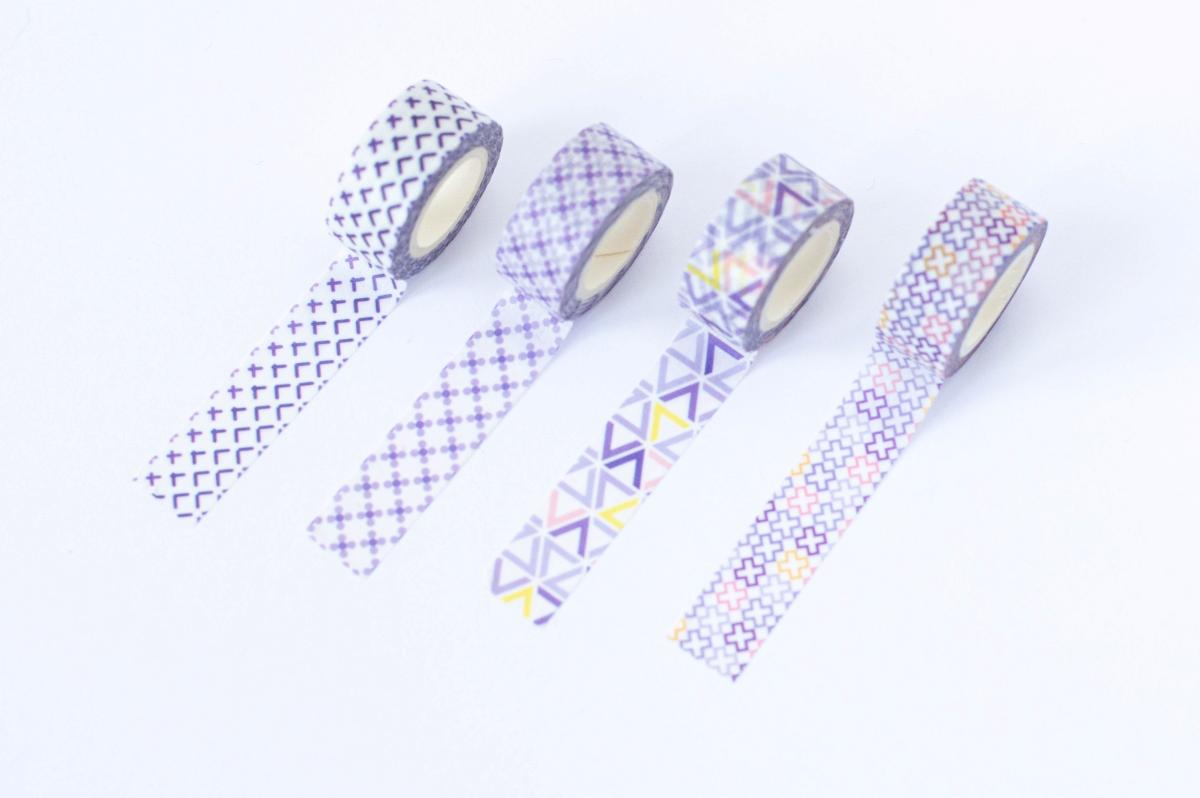 taśma dekoracyjna washi fioletowe wzory