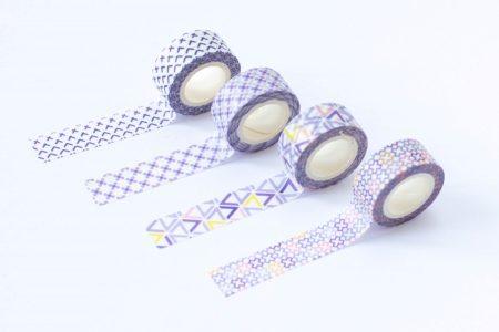 taśma dekoracyjna washi fioletowe wzory 2