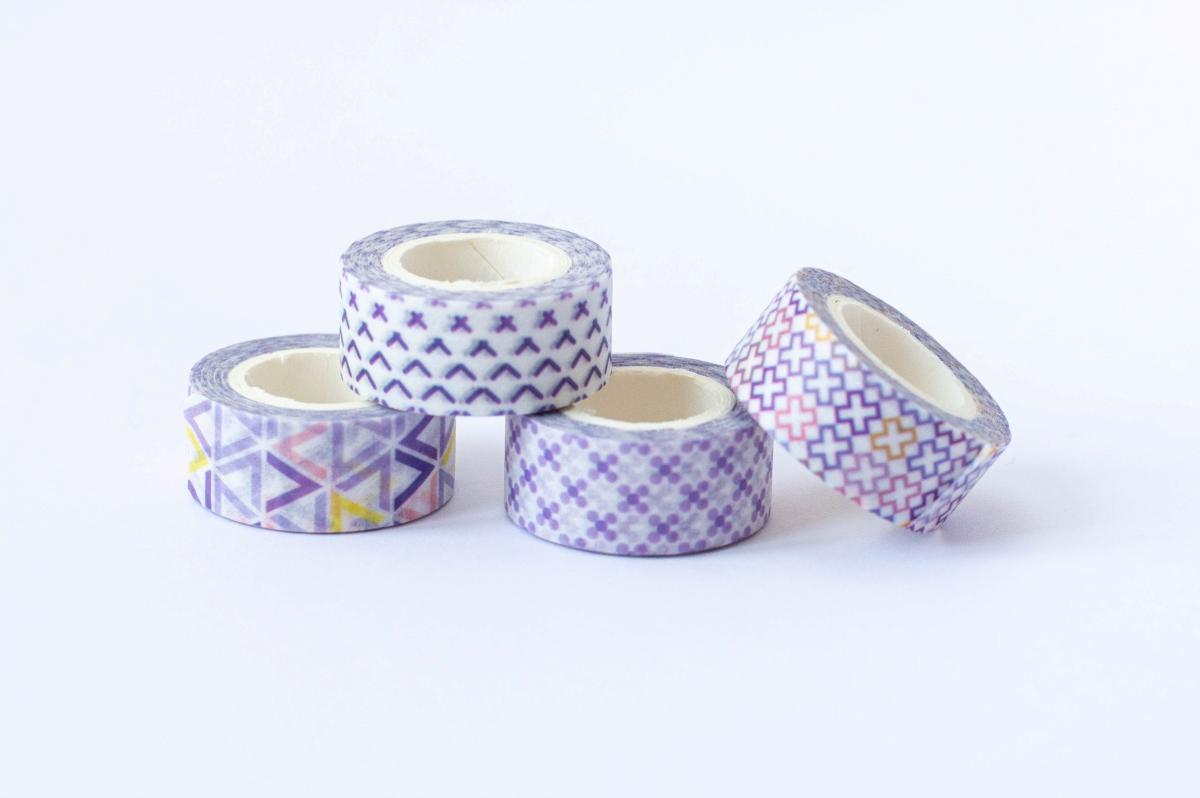 taśma dekoracyjna washi fioletowe wzory 3