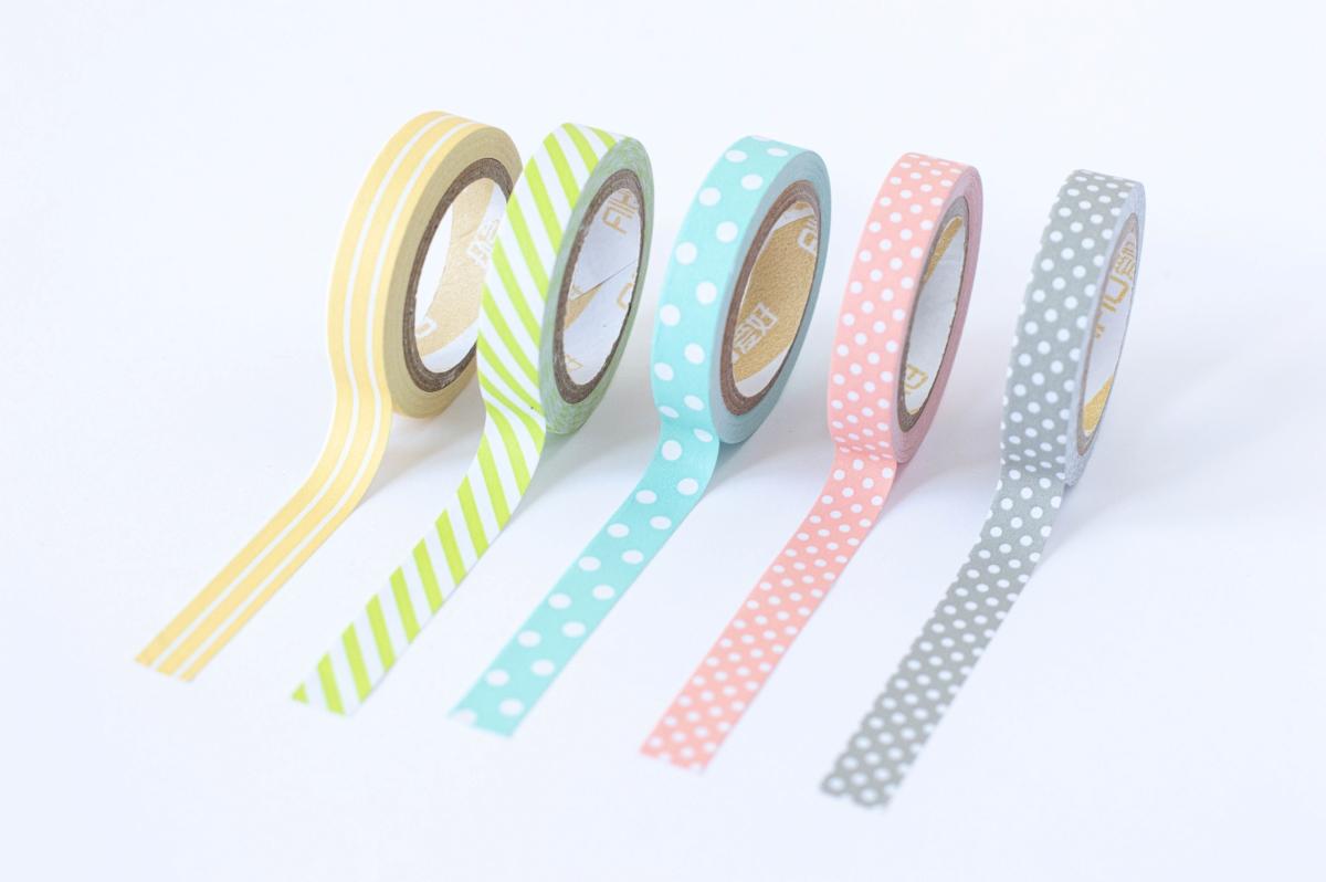 taśma dekoracyjna washi pastelowe wzory