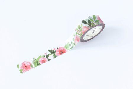 taśma dekoracyjna washi różowe kwiaty