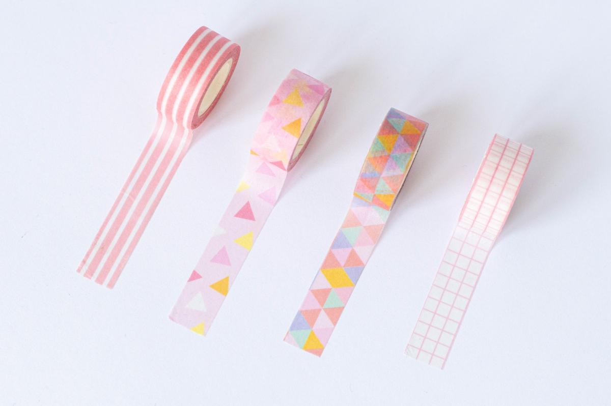 taśma dekoracyjna washi różowe wzory 2