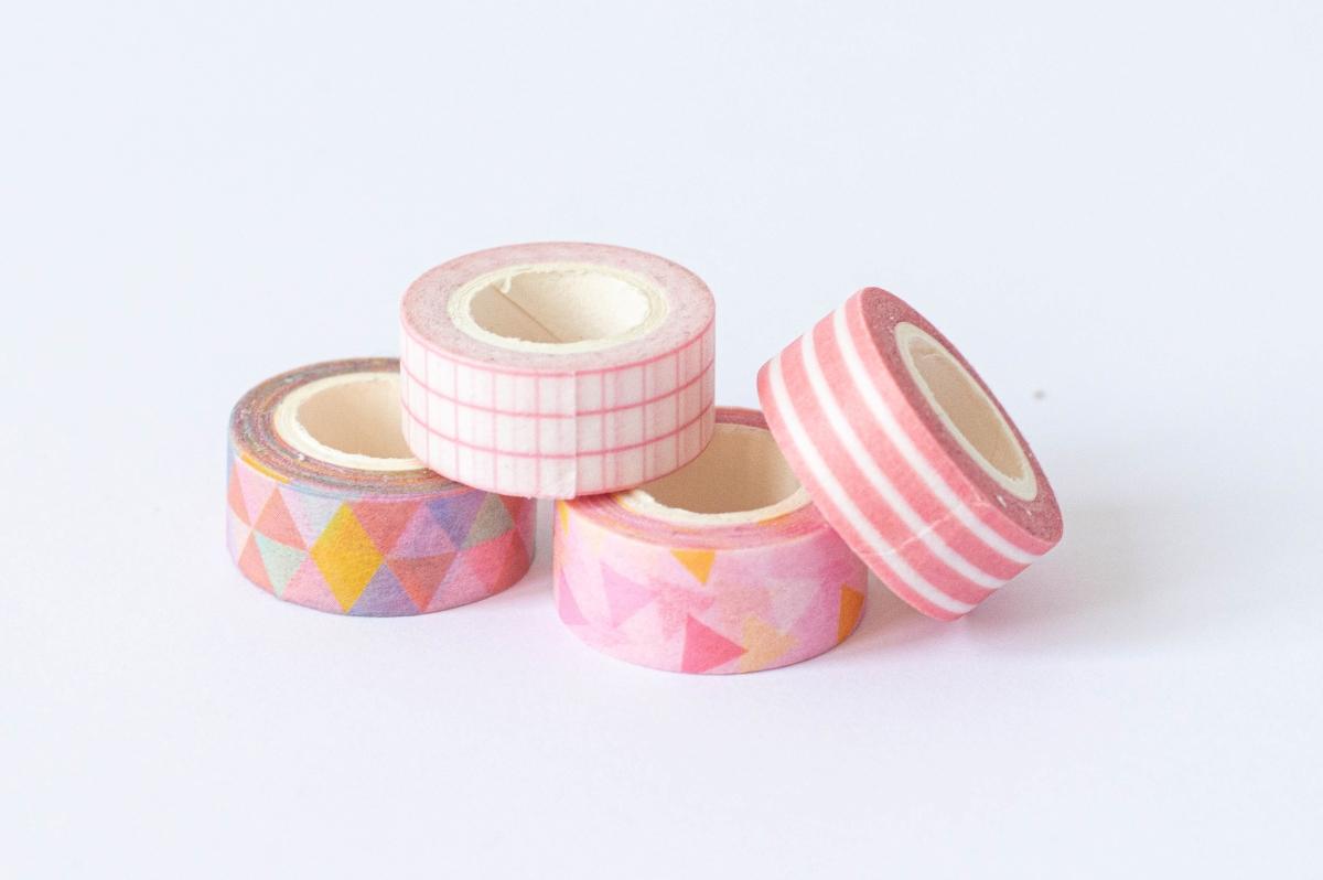 taśma dekoracyjna washi różowe wzory 3