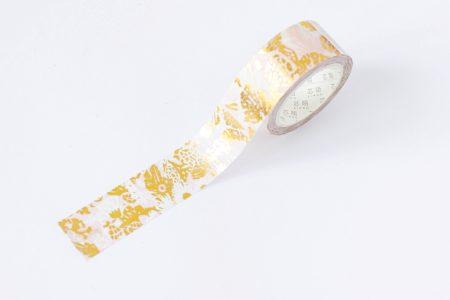 tasma dekoracyjna washi złoto i róż 2