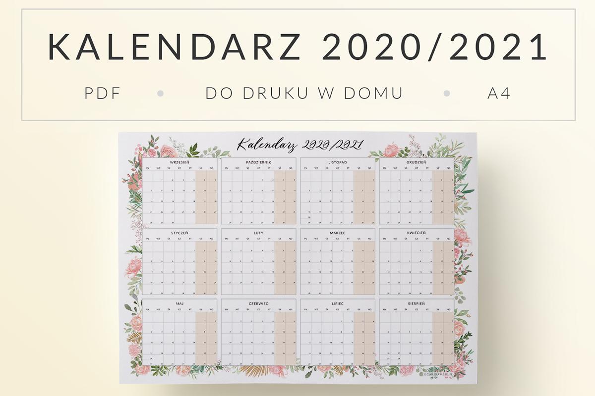 OgarniamSie Kalendarz 2020-2021 Kwiaty-A4 do druku mockup