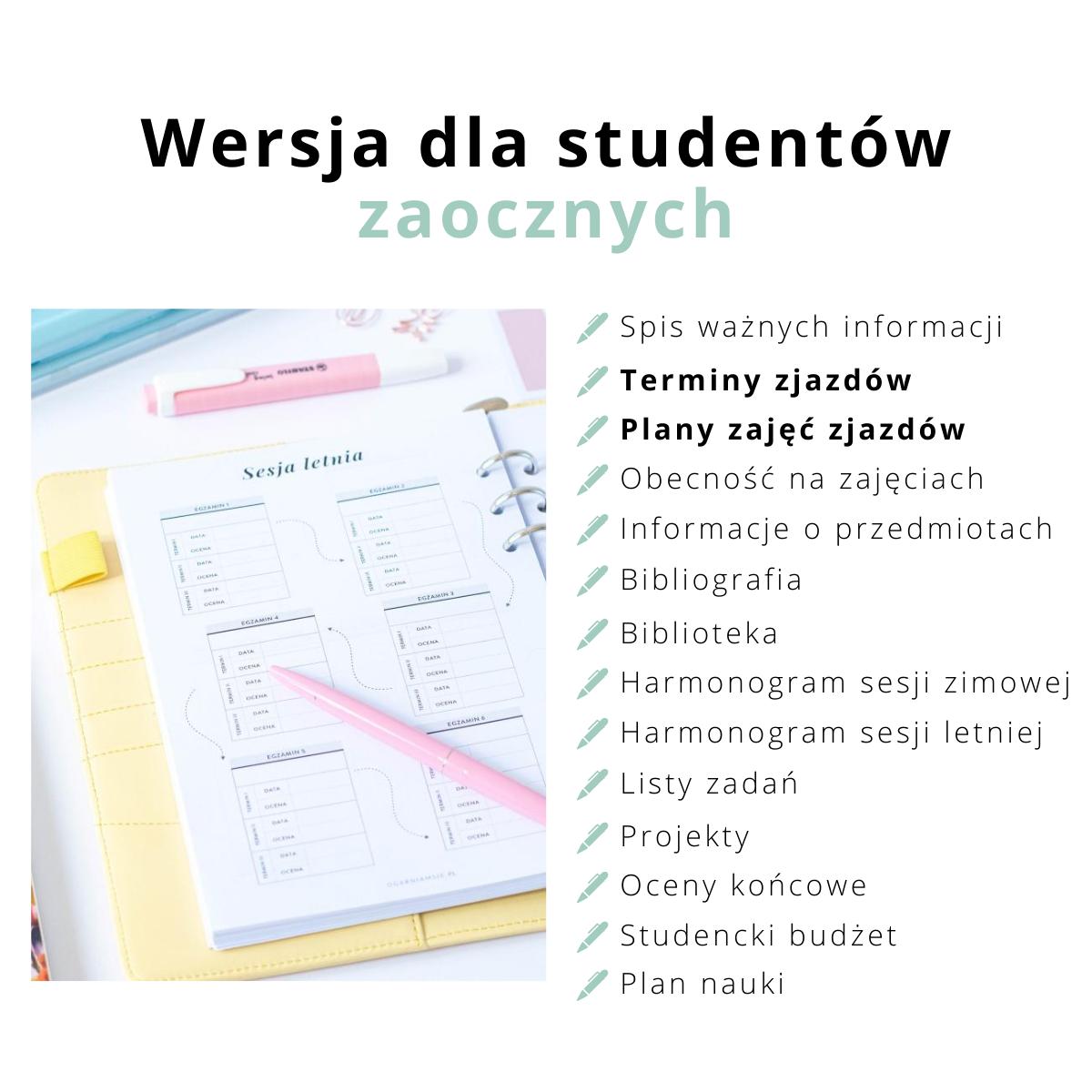 cechy organizera studenta zaocznego 2020-2021