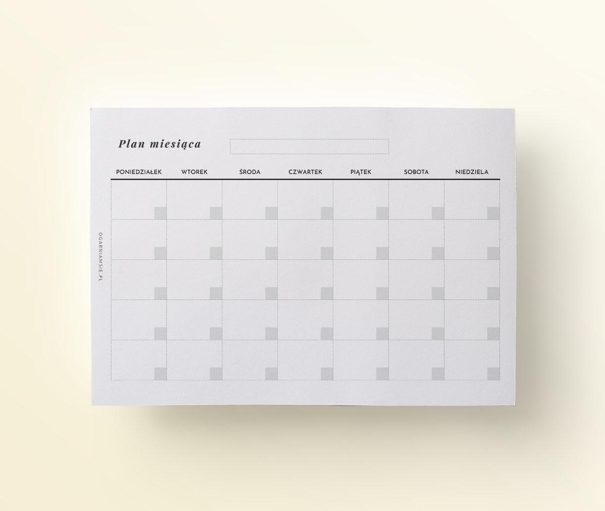 Kalendarz miesięczny bez dat, mockup