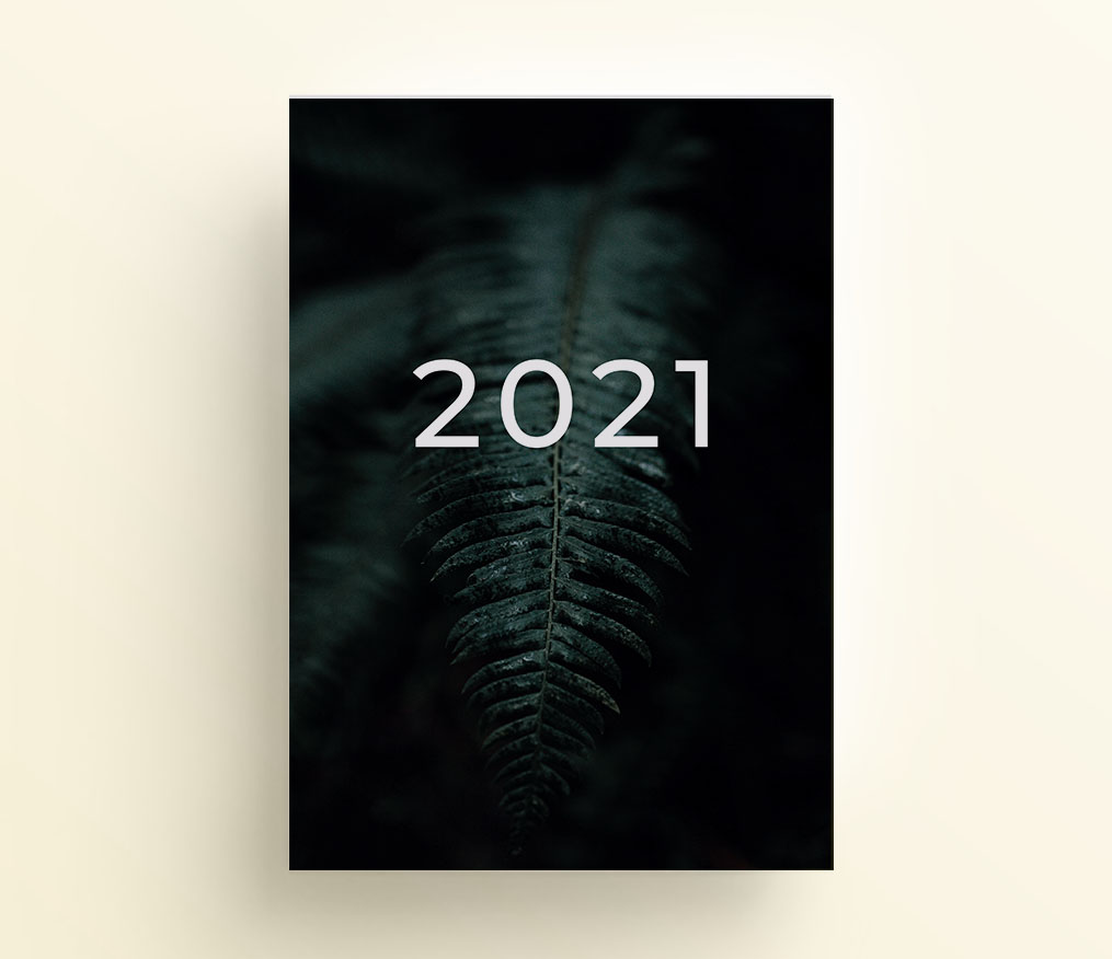 liść paproci, strona tytułowa do organizera