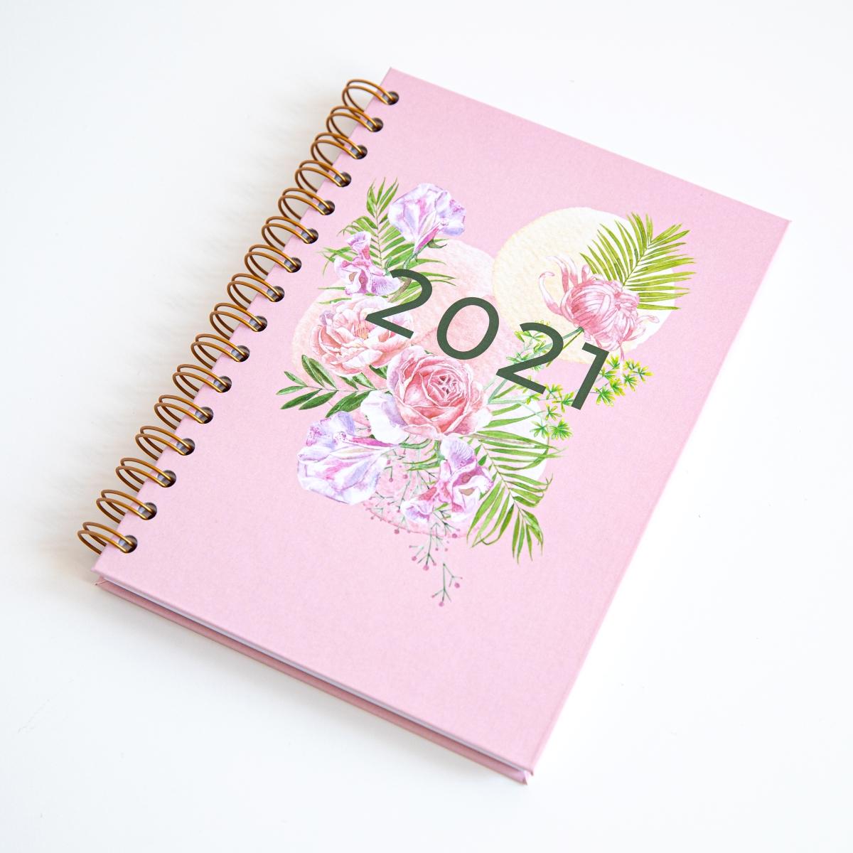 Personalizowany Planer 2021 okładka rajskie kwiaty
