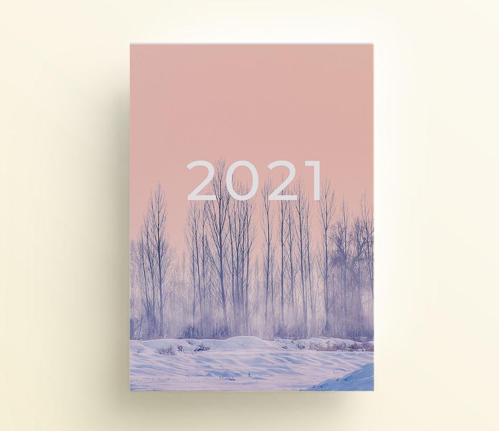 zimowy las, strona tytułowa do organizera