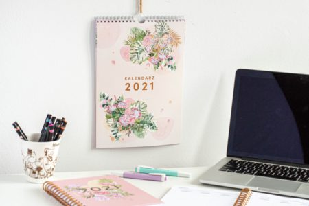Tropikalne kwiaty kalendarz 2021 ścienny