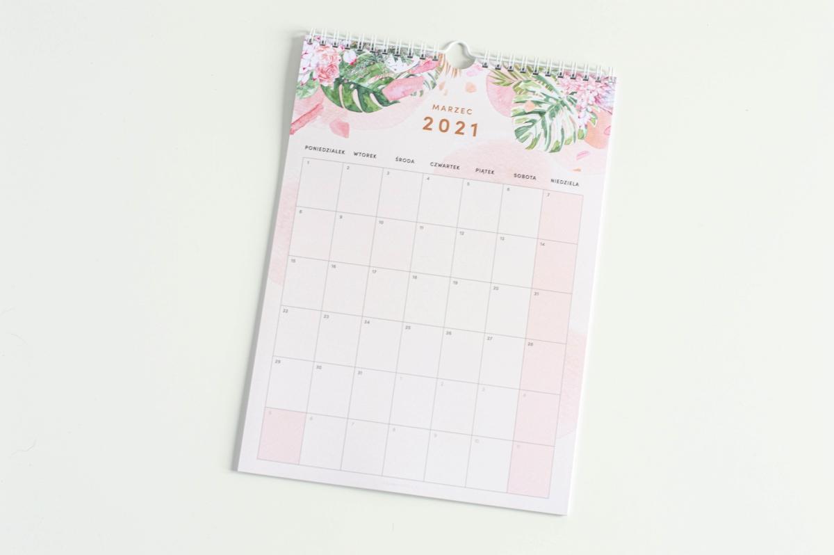 Tropikalne kwiaty kalendarz 2021 ścienny środek 2