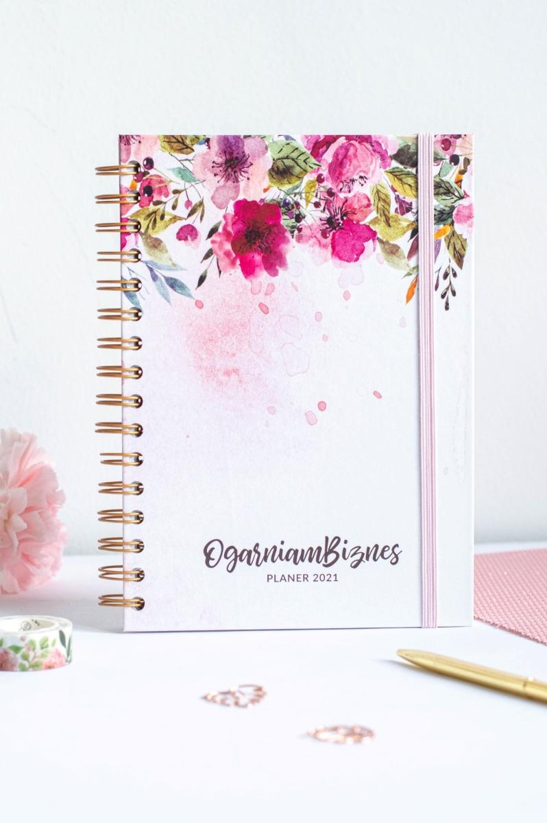 Okładka planera Ogarniam Biznes 2021 Kwiaty