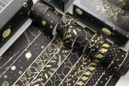 zestaw tasm ozdobnych czerń i złoto