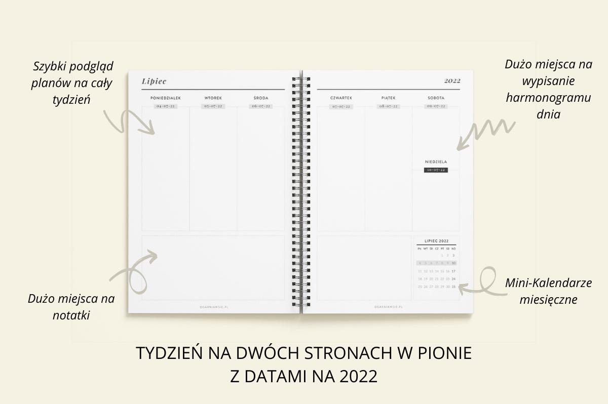 Personalizowany Planer OgarniamSię 2022 tydzień na dwóch stronach w pionie z datami na 2022 cechy