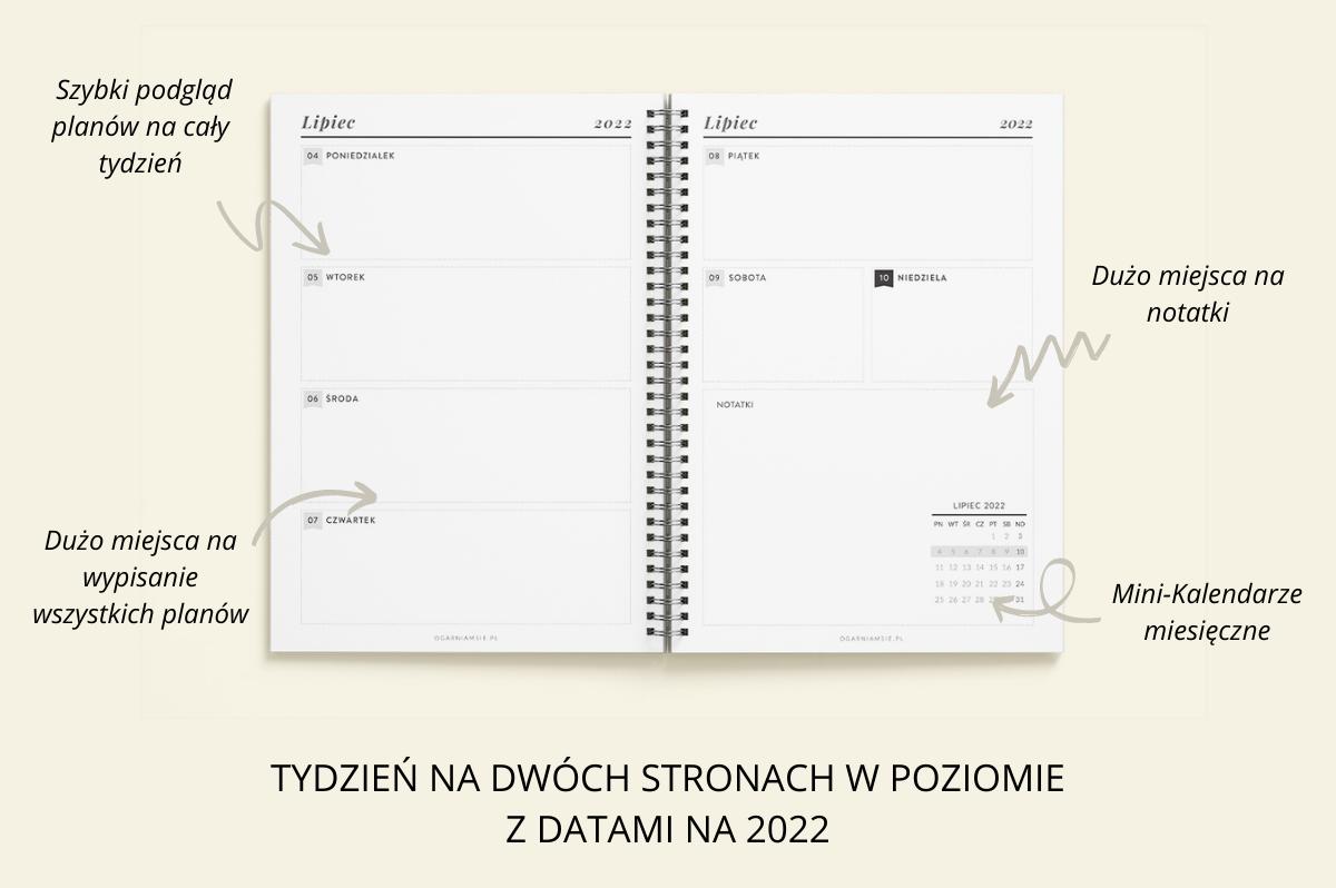 Personalizowany Planer OgarniamSię 2022 tydzień na dwóch stronach w poziomie z datami na 2022 cechy