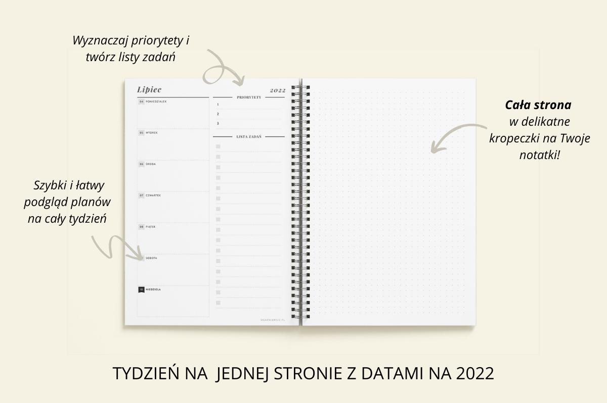 Personalizowany Planer OgarniamSię 2022 tydzień na jednej stronie z datami na 2022 cechy