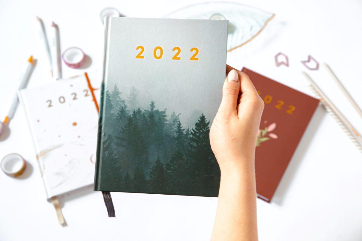 Planer książkowy 2022 dark forest w ręce